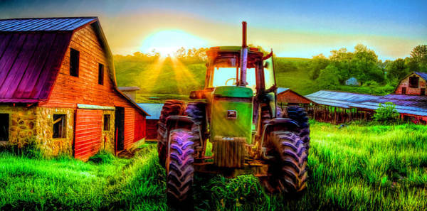 Photograph - Working John Deere In The Morning Sunshine Hdr Detail by Debra and Dave Vanderlaan