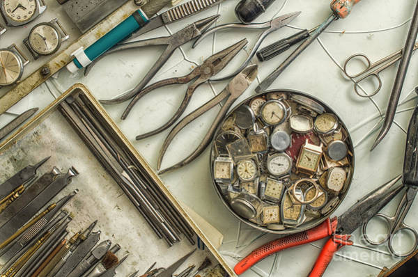 Steel Wall Art - Photograph - Workplace Watchmaker, Watchmaker Tools by Ukki Studio