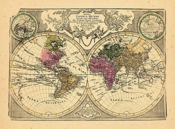 18th Century Digital Art - World, 1775 by Historic Map Works Llc And Osher Map Library