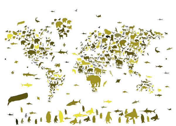 Fauna Digital Art - World Map Animals by Bekim Art