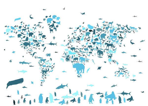 Back-to-school Digital Art - World Map Animals Blue by Bekim Art