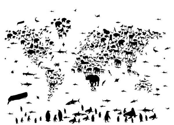 Back-to-school Digital Art - World Map Animals Bw by Bekim Art