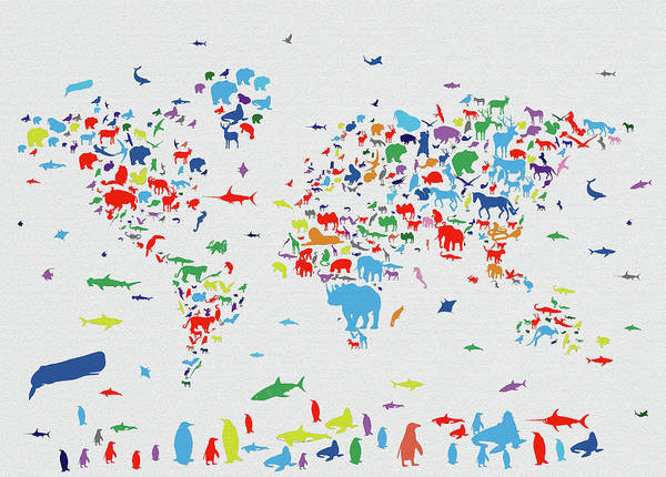 Fauna Digital Art - World Map Animals Color 1 by Bekim Art