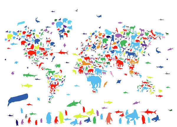 Fauna Digital Art - World Map Animals Color 3 by Bekim Art