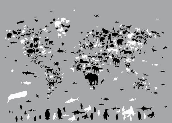 Fauna Digital Art - World Map Animals Grey by Bekim Art