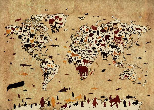 Back-to-school Digital Art - World Map Animals Vintage 2  by Bekim Art