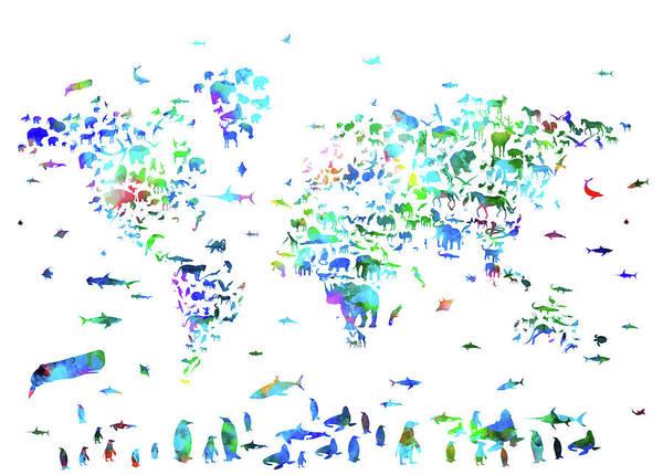 Back-to-school Digital Art - World Map Animals Watercolor by Bekim Art