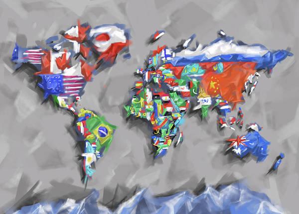 Back-to-school Digital Art - World Map Flags by Bekim Art