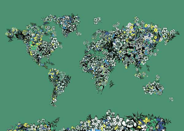 Back-to-school Digital Art - World Map Floral Green by Bekim Art