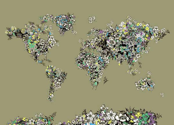 Back-to-school Digital Art - World Map Flowers 3 by Bekim Art