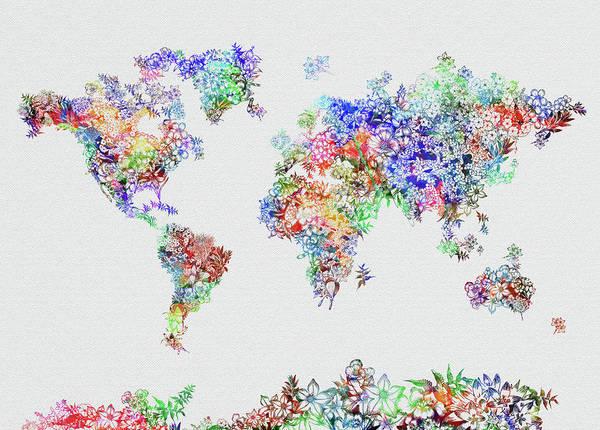 Back-to-school Digital Art - World Map Flowers 5 by Bekim Art