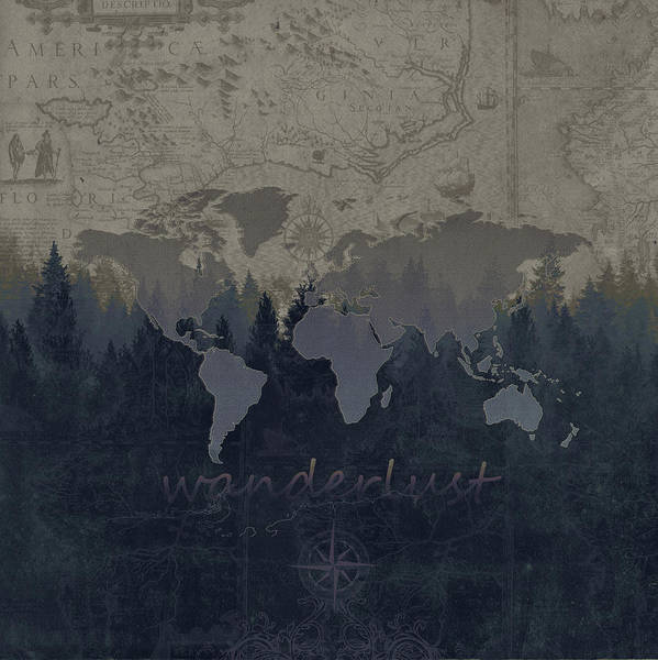 Earth Day Digital Art - World Map Forest 4 by Bekim M