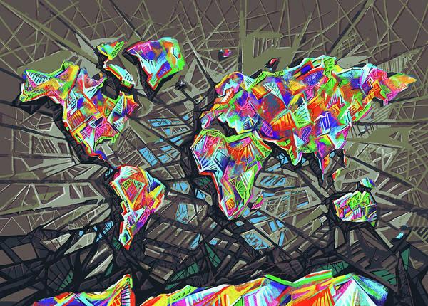 Back-to-school Digital Art - World Map Geometric 2 by Bekim Art