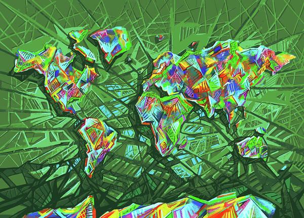 Back-to-school Digital Art - World Map Geometric Green by Bekim Art