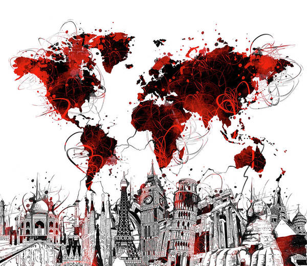 Wall Art - Digital Art - World Map Landmarks 4 by Bekim M