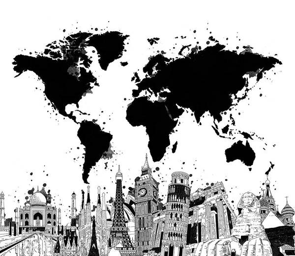 Wall Art - Digital Art - World Map Landmarks 5 by Bekim M