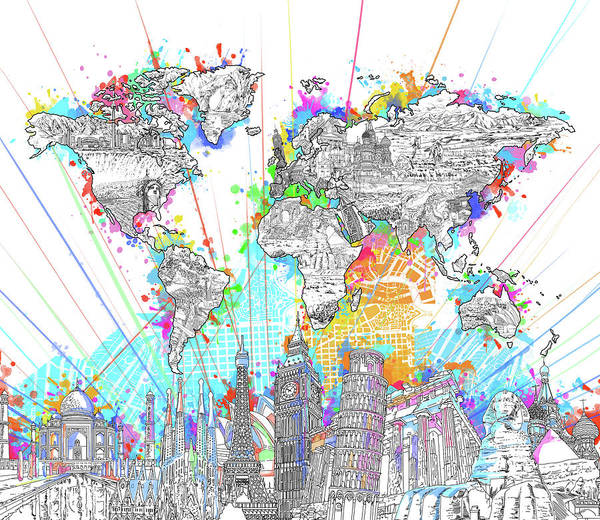 Wall Art - Digital Art - World Map Landmarks 6 by Bekim M