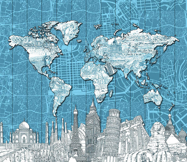 Wall Art - Digital Art - World Map Landmarks Blue by Bekim M