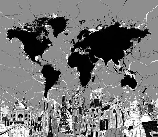 Wall Art - Digital Art - World Map Landmarks Gray by Bekim M