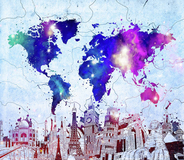 Wall Art - Digital Art - World Map Landmarks Skyline by Bekim M