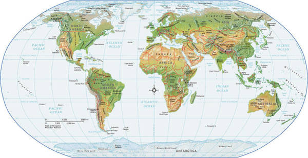 Relief Digital Art - World Map, Physical by Globe Turner, Llc