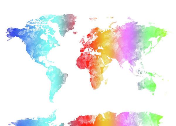 Back-to-school Digital Art - World Map Rainbow Watercolor by Bekim Art