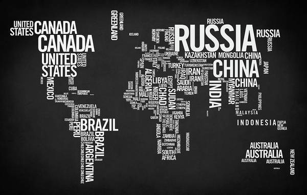 Digital Art - World Map Typo by Zapista Zapista