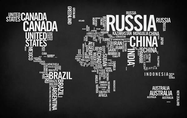 Wall Art - Digital Art - World Map Typo by Zapista Zapista