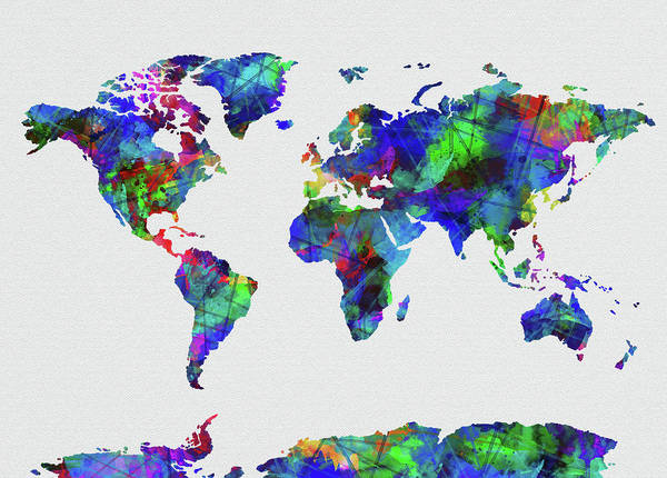 Back-to-school Digital Art - World Map Watercolor 5 by Bekim Art