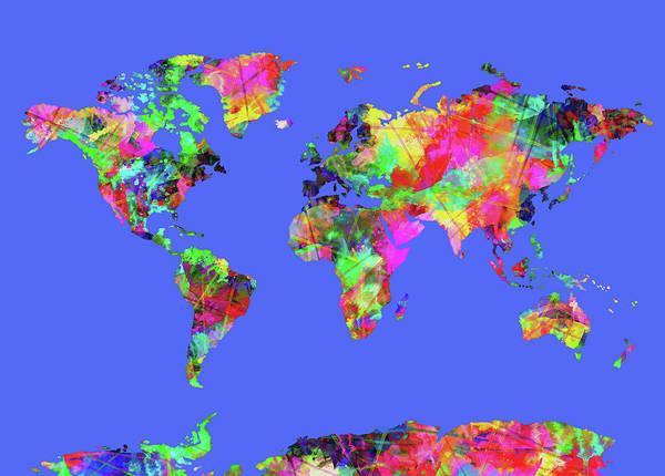 Back-to-school Digital Art - World Map Watercolor 6 by Bekim Art