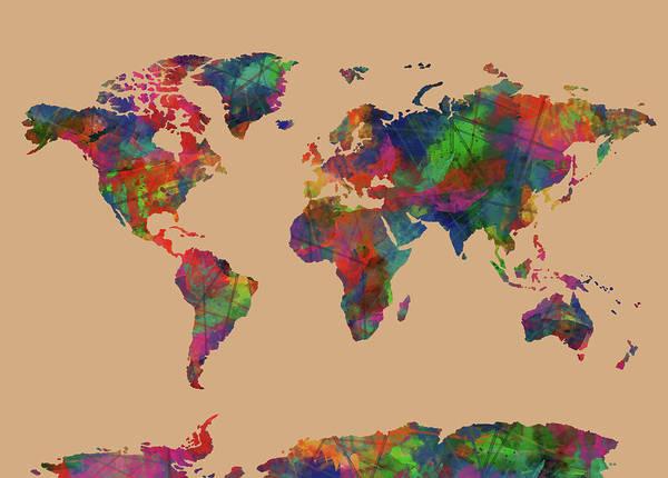 Back-to-school Digital Art - World Map Watercolor 7 by Bekim Art