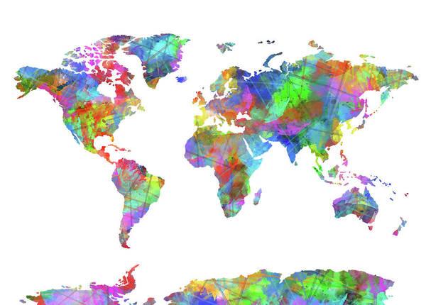 Back-to-school Digital Art - World Map Watercolor by Bekim Art