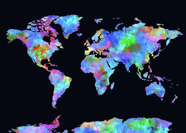 Back-to-school Digital Art - World Map Watercolor Black by Bekim Art
