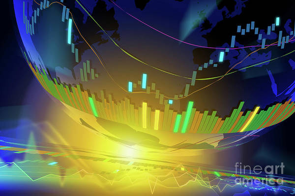 Banking Digital Art - World Stock Graph by Atiketta Sangasaeng