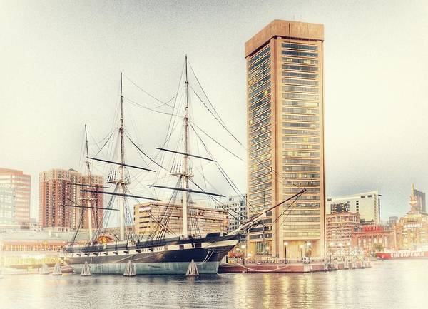 Photograph - World Trade Center And Constellation Ship Landscape, Baltimore, Maryland by Marianna Mills