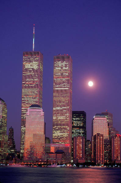 Mid-atlantic Photograph - World Trade Center And Moon, Nyc by Rudi Von Briel