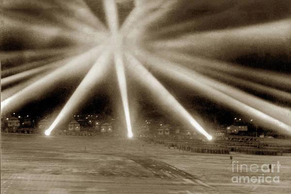 Photograph - World War II-era Anti-aircraft Spotlights.  December 1941, Calif by California Views Archives Mr Pat Hathaway Archives