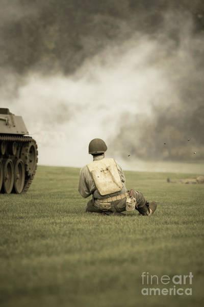 Photograph - World War II Infantry Soldier In A Battle by Edward Fielding