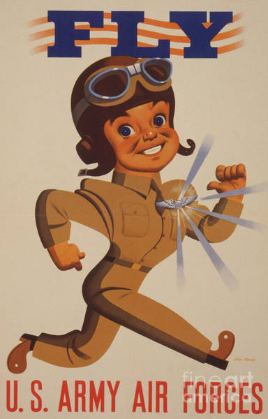 Wall Art - Drawing - World War II Recruitment Poster  Fly  Us Army Air Forces, 1942  by Stanley Ekman