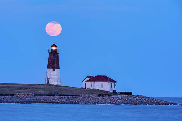 Photograph - Worm Moon Over Point Judith by Michael Blanchette