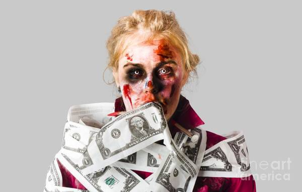 Afraid Photograph - Worried Zombie With Dollar Bills by Jorgo Photography - Wall Art Gallery