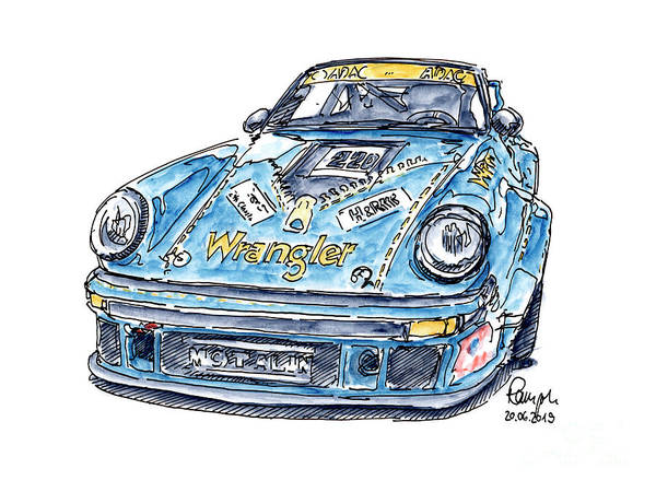 Wall Art - Drawing - Wrangler Porsche 930 Rsr Classic Racecar Ink Drawing And Waterco by Frank Ramspott