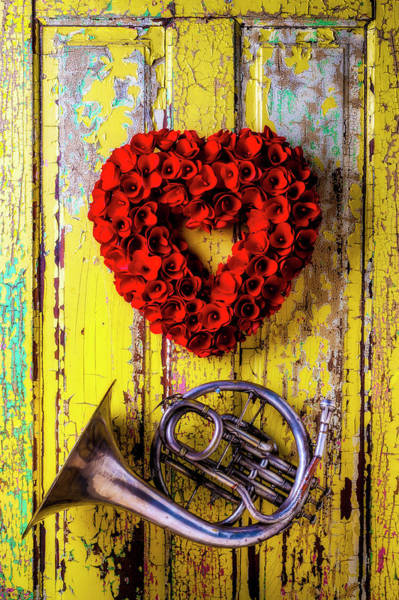 Wall Art - Photograph - Wreath Heart And French Horn by Garry Gay