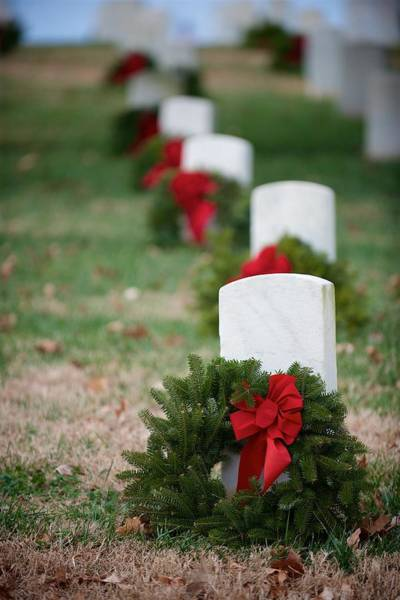 Photograph - Wreaths On Headstones by Mark Duehmig