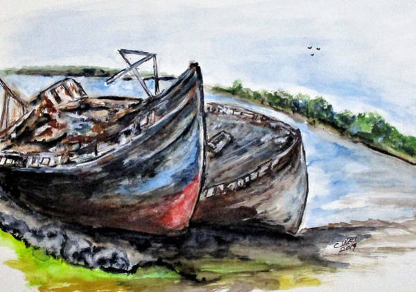 Painting - Wrecked River Boats by Clyde J Kell