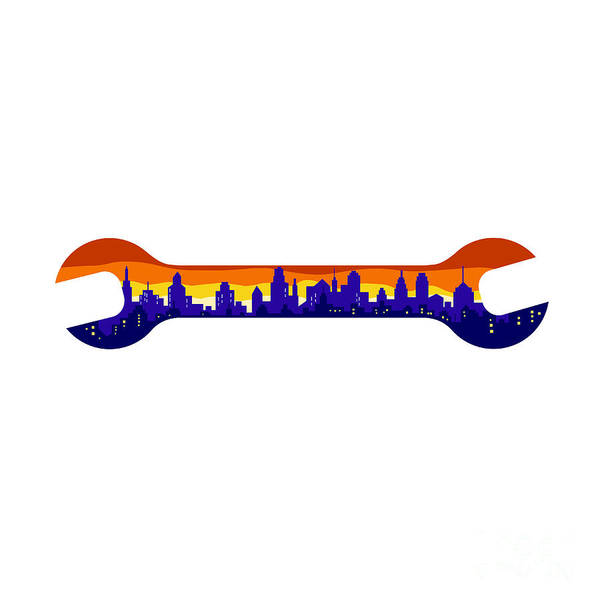 Wall Art - Digital Art - Wrench With Cityscape Buildings Silhouette Retro by Aloysius Patrimonio