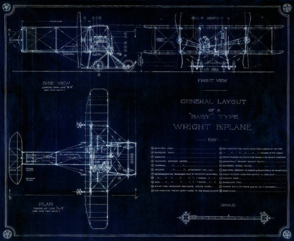Wall Art - Photograph - Wright Bros High-performance Model R Biplane Blueprint 1911 by Daniel Hagerman