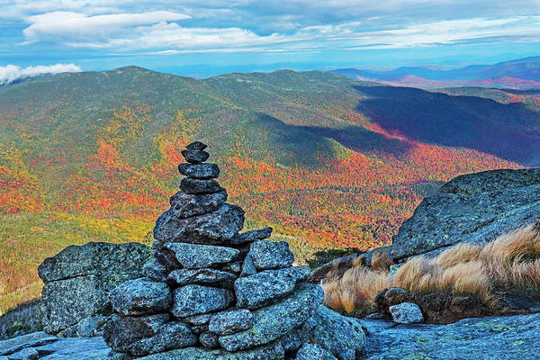 Photograph - Wright Mountain Rock Cairn On A Beautiful Autumn Day In The Adirondacks Upstate New York by Toby McGuire