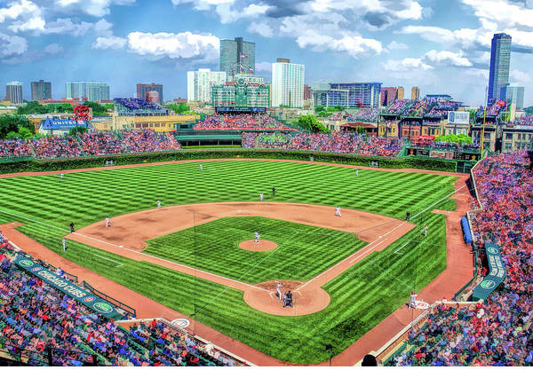 Painting - Wrigley Field Chicago Cubs Baseball Ballpark Stadium by Christopher Arndt