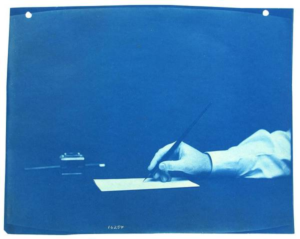 Note Book Painting - Writing   Cyanotype Photograph By Thomas Smillie by Celestial Images